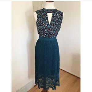 NWT Romeo + Juliet • Blue Lace Midi Skirt